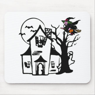 Halloween haunted house and witch mouse pad