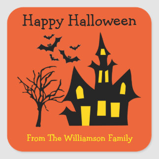 Halloween Haunted House Bats Party Favor Gift Tag