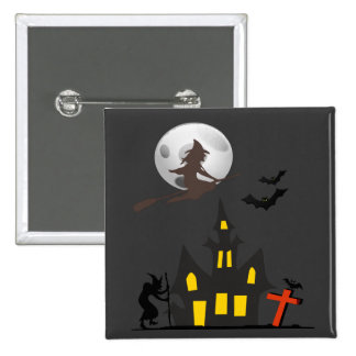 Halloween Haunted House Button