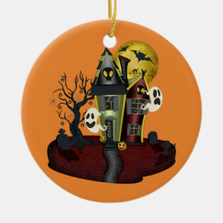 Halloween Haunted House Ceramic Ornament