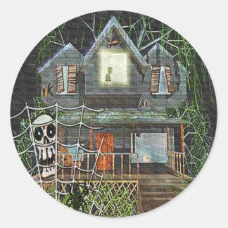 Halloween Haunted House Classic Round Sticker