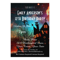 Halloween Haunted House Cosmic Birthday Invitation