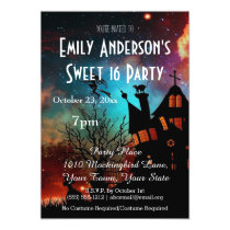 Halloween Haunted House Costume Sweet 16 Birthday Card