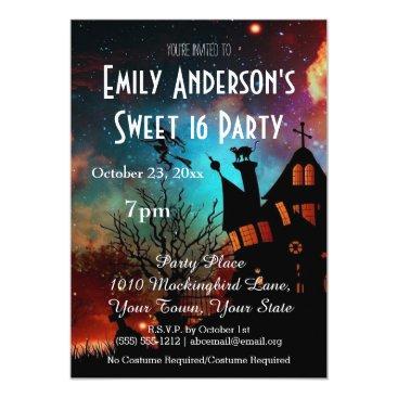 Halloween Themed Halloween Haunted House Costume Sweet 16 Birthday Card