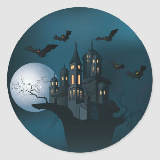 Halloween haunted house, dead tree, moon and bats classic round sticker