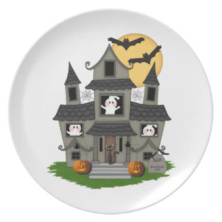 Halloween Haunted House Dinner Plate