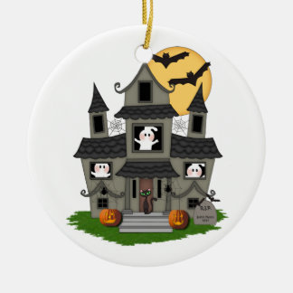 Halloween Haunted House Double-Sided Ceramic Round Christmas Ornament