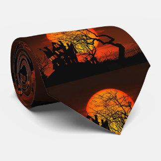 Halloween Haunted House Full Moon Neck Tie