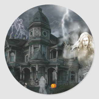 Halloween Haunted House Get Out While You Can Classic Round Sticker