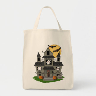 Halloween Haunted House Grocery Tote Bag