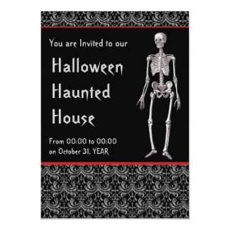 Halloween Haunted House Invitation with Skeletons
