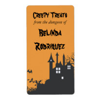 Halloween Haunted House Kitchen Label Shipping Label