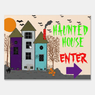Halloween Haunted House Lawn Sign