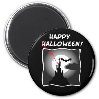 Halloween Haunted House 2 Inch Round Magnet