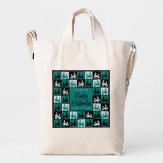 Halloween haunted house mosaic duck bag