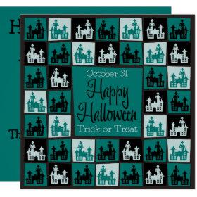 Halloween haunted house mosaic invitation