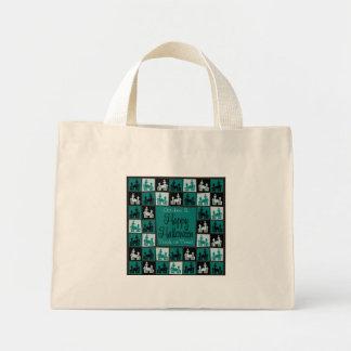 Halloween haunted house mosaic mini tote bag