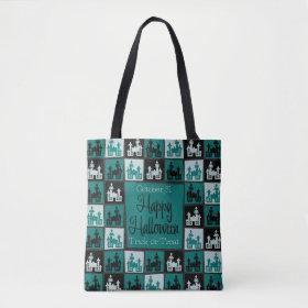 Halloween haunted house mosaic tote bag