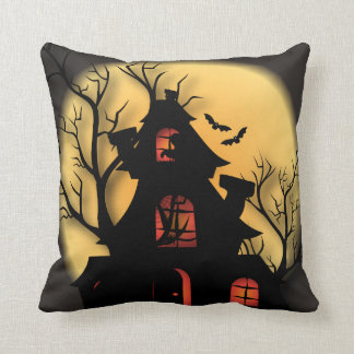 Halloween Haunted House Night Throw Pillow