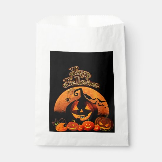 Halloween, Haunted House, Orange Moon Treat Bags