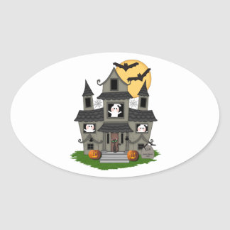 Halloween Haunted House Oval Sticker