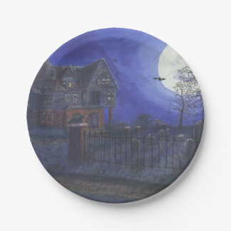 Halloween Haunted House Paper Plate