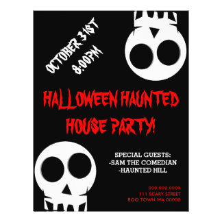 Halloween Haunted House Party Announcement Flyer