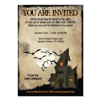 Halloween Haunted House Party Invitations