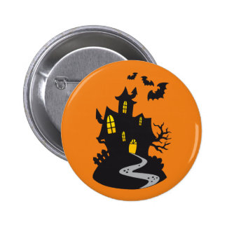 Halloween Haunted House Pinback Button