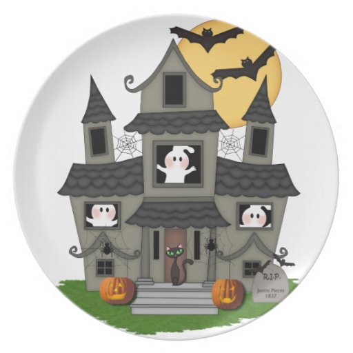 Halloween Haunted House Party Plate