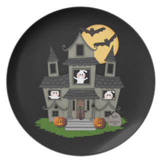 Halloween Haunted House Plate