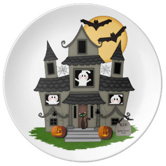 Halloween Haunted House Porcelain Plate