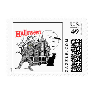 Halloween Haunted House Postage Stamps