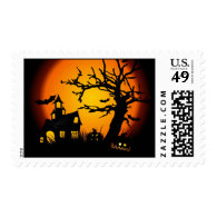 Halloween haunted house postage stamp