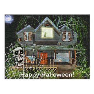 Halloween Haunted House Postcard
