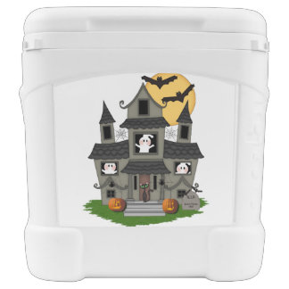 Halloween Haunted House Rolling Cooler