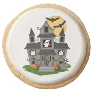 Halloween Haunted House Round Sugar Cookie