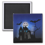 Halloween Haunted House -- Scary 2 Inch Square Magnet