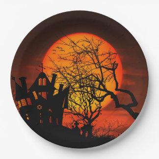 Halloween Haunted House Scene Paper Plate