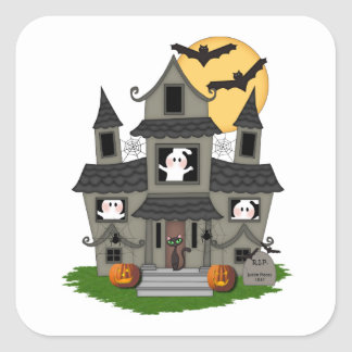 Halloween Haunted House Square Sticker