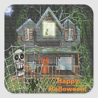 Halloween Haunted House Square Stickers
