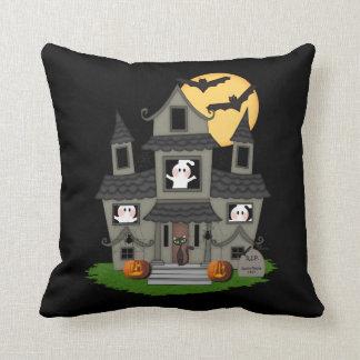 Halloween Haunted House Throw Pillow
