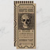 Halloween Haunted House Ticket Invitations Kraft