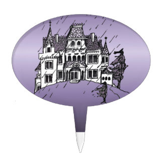 Halloween Haunted House With A Purple Background Cake Picks