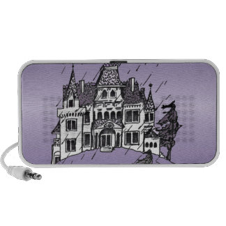 Halloween Haunted House With A Purple Background iPod Speaker
