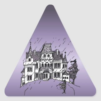 Halloween Haunted House With A Purple Background Triangle Stickers