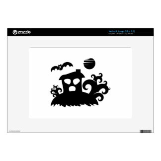 Halloween Haunted House with Bat Skins For Large Netbooks