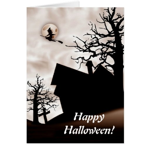 Halloween Haunted House with Witch On Broom Greeting Card