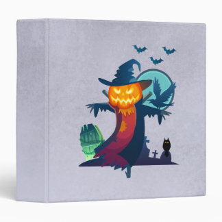 Halloween Haunted Scarecrow With Bats And A Crow Binder