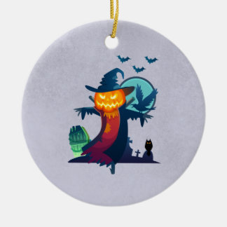 Halloween Haunted Scarecrow With Bats And A Crow Ceramic Ornament